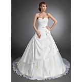 De baile Coração Comboios Catedral Tafetá Vestido de noiva com Pregueado Apliques de Renda fecho de correr (002015112)