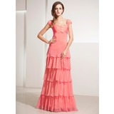 A-Line/Princess Sweetheart Floor-Length Chiffon Holiday Dress With Lace Cascading Ruffles (020014197)