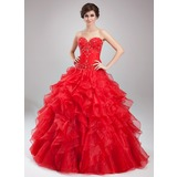 Ball-Gown Sweetheart Floor-Length Satin Organza Quinceanera Dress With Beading Cascading Ruffles (021004664)
