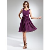 A-Line Scoop Neck Knee-length Chiffon Bridesmaid Dress With Charmeuse Sash (007015498)