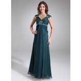 Empire V-neck Floor-Length Chiffon Maternity Bridesmaid Dress With Ruffle Lace Beading (045022468)