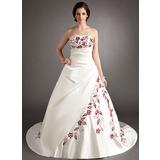Трапеция/Принцесса Без лямок Церковный шлейф Атлас Свадебные Платье с Вышито Рябь Бисер (002004536)
