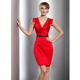 Sheath/Column V-neck Short/Mini Satin Cocktail Dress With Ruffle Sash (016014731)