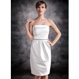 Платье-чехол Без лямок Длина до колен Атлас Платье Подружки Невесты с Рябь Бисер (007016869)
