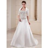 Vestidos princesa/ Formato A Coração Cauda longa Cetim Vestido de noiva com Bordados Bordado Lantejoulas (002012599)