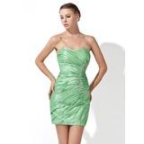 Платье-чехол В виде сердца Мини-платье Тафта Коктейльные Платье с Рябь Бисер (016013111)