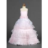 Vestidos princesa/ Formato A Longos Vestidos de Menina das Flores - Organza de/Cetim Sem magas alças de ombro com Pregueado/Cintos/fecho de correr (010014655)