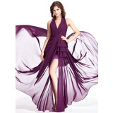 Sheath/Column Halter Sweep Train Chiffon Evening Dress With Ruffle Split Front (017025327)