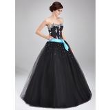 Duchesse-Linie Herzausschnitt Bodenlang Tüll Quinceañera Kleid (Kleid für die Geburtstagsfeier) mit Schleifenbänder/Stoffgürtel Perlen verziert Applikationen Spitze (021004714)