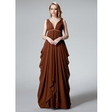 Empire V-neck Floor-Length Chiffon Evening Dress With Ruffle (017025830)