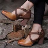 Donna Similpelle PU Tacco spesso Stiletto Punta chiusa con Fibbia scarpe (085211421)