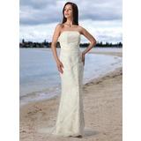 Платье-чехол Без лямок Церемониальный шлейф Тюль кружева Свадебные Платье (002005197)