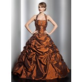 Платье для Балла С бретелью через шею Длина до пола Тафта Пышное платье с Рябь Бисер (021014753)
