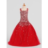 Ball Gown Floor-length Flower Girl Dress - Satin/Tulle Sleeveless Straps With Sequins (010007306)