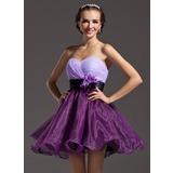 Vestidos princesa/ Formato A Coração Curto/Mini Organza de Vestido de boas vindas com Pregueado Cintos fecho de correr (022008998)