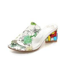 Konstläder Tjockt Häl Sandaler Tofflor med Kristall Heel skor (087050267)