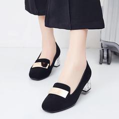 Женщины Замша Устойчивый каблук На каблуках с блестками обувь (085115170)