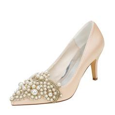 Женщины шелка как атласное Высокий тонкий каблук На каблуках с Вышитые кружева жемчуг (047128170)