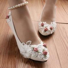 Женщины кожа Высокий тонкий каблук Закрытый мыс На каблуках с Имитация Перл Цветок (047104072)