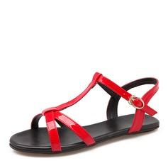 Женщины PU Плоский каблук Сандалии На плокой подошве с пряжка обувь (087157098)