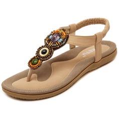 Женщины кожа Плоский каблук Сандалии с развальцовка обувь (087093230)