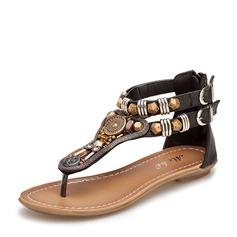 Женщины кожа Плоский каблук Сандалии с развальцовка заклепки Застежка-молния Цепь обувь (087118999)