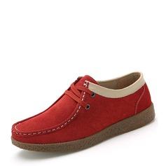 Женщины Замша Плоский каблук На плокой подошве Закрытый мыс с Шнуровка обувь (086149313)