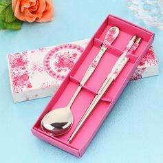 Desenho de flor Aço inoxidável Colher e Chopsticks Set (051026887)