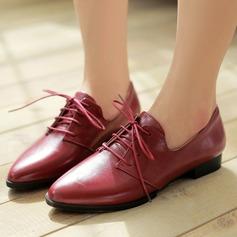 Женщины PU Плоский каблук На плокой подошве Платформа с Шнуровка обувь (086145704)