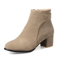 Mulheres Camurça Salto robusto Bombas Botas Bota no tornozelo com Zíper sapatos (088143727)