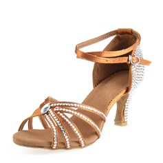 Women's Satin Heels Sandals Latin With Ankle Strap Dance Shoes (053146273)