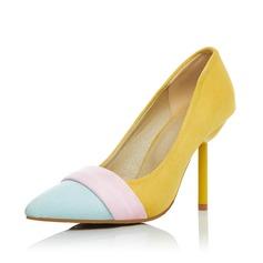 Женщины Замша Высокий тонкий каблук На каблуках Закрытый мыс обувь (085085993)