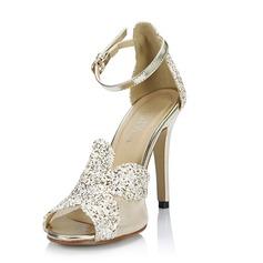Женщины кожа Высокий тонкий каблук Сандалии На каблуках Открытый мыс с Мерцающая отделка пряжка обувь (087051701)