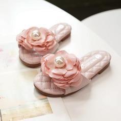 девичий Открытый мыс Slingback Кожа из микроволокна Плоский каблук На плокой подошве Тапочки с Цветок (207207377)