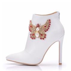 Женщины кожа Высокий тонкий каблук Ботинки На каблуках с горный хрусталь (047149240)