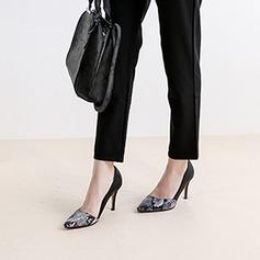 Женщины кожа Высокий тонкий каблук На каблуках Закрытый мыс с Животных печати Соединение врасщеп обувь (085105625)