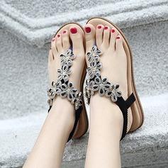 Kvinner Lær Flat Hæl Sandaler Flate sko Titte Tå med Rhinestone Elastisk bånd sko (087115655)
