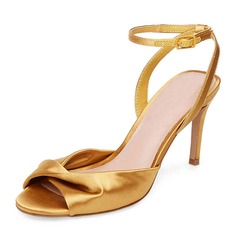 Женщины шелка как атласное Высокий тонкий каблук На каблуках Сандалии с Рябь (047146120)