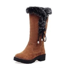 Женщины Замша Устойчивый каблук Сапоги до середины голени Зимние сапоги с мех Плетеный ремень обувь (088096257)