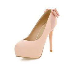 Imitação de couro Salto agulha Bombas Plataforma Fechados com Da curva sapatos (085044535)