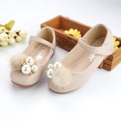 Jentas Round Toe Microfiber Lær flat Heel Flower Girl Shoes med Profilering Imitert Perle Velcro (207137830)