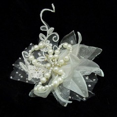 Beautiful Artificial Silk/Tulle Flowers & Feathers With Venetian Pearl (042025416)
