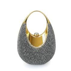 Luminoso Metal com Porpurina Bolsa de Pulso/Porta Moedas de Noiva (012025491)