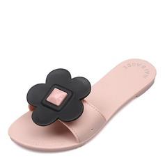 Женщины резиновый Плоский каблук Сандалии На плокой подошве Открытый мыс Босоножки Тапочки с Цветок обувь (087164420)