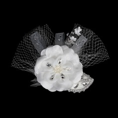 Moda Cristal Fascinators/Flores & penas (042015991)
