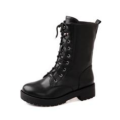 Couro Salto baixo Bota no tornozelo Martin botas com Aplicação de renda sapatos (088052905)