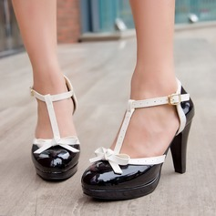 Женщины кожа Устойчивый каблук Сандалии На каблуках Платформа Закрытый мыс с бантом пряжка обувь (085109590)