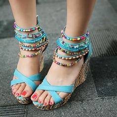Mulheres Couro Plataforma Sandálias com Pérola Imitação Zíper sapatos (087114611)