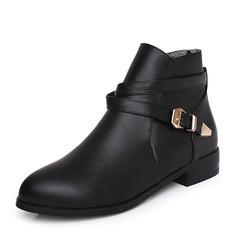 Mulheres PU Salto baixo Botas Bota no tornozelo com Fivela sapatos (088143733)