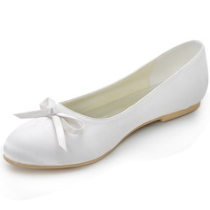 Vrouwen zijde als satijn Flat Heel Closed Toe Flats met Strik (047042436)